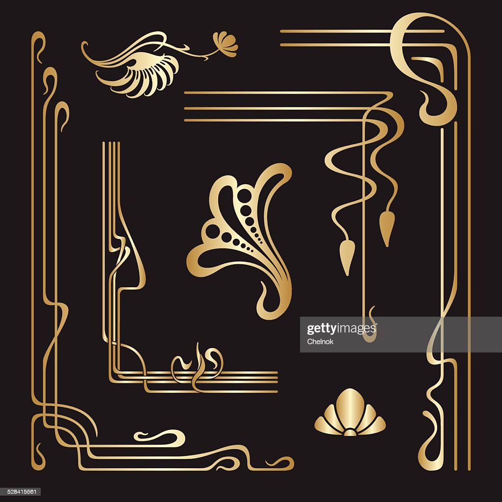 Vector set of art nouveau decorative elements.