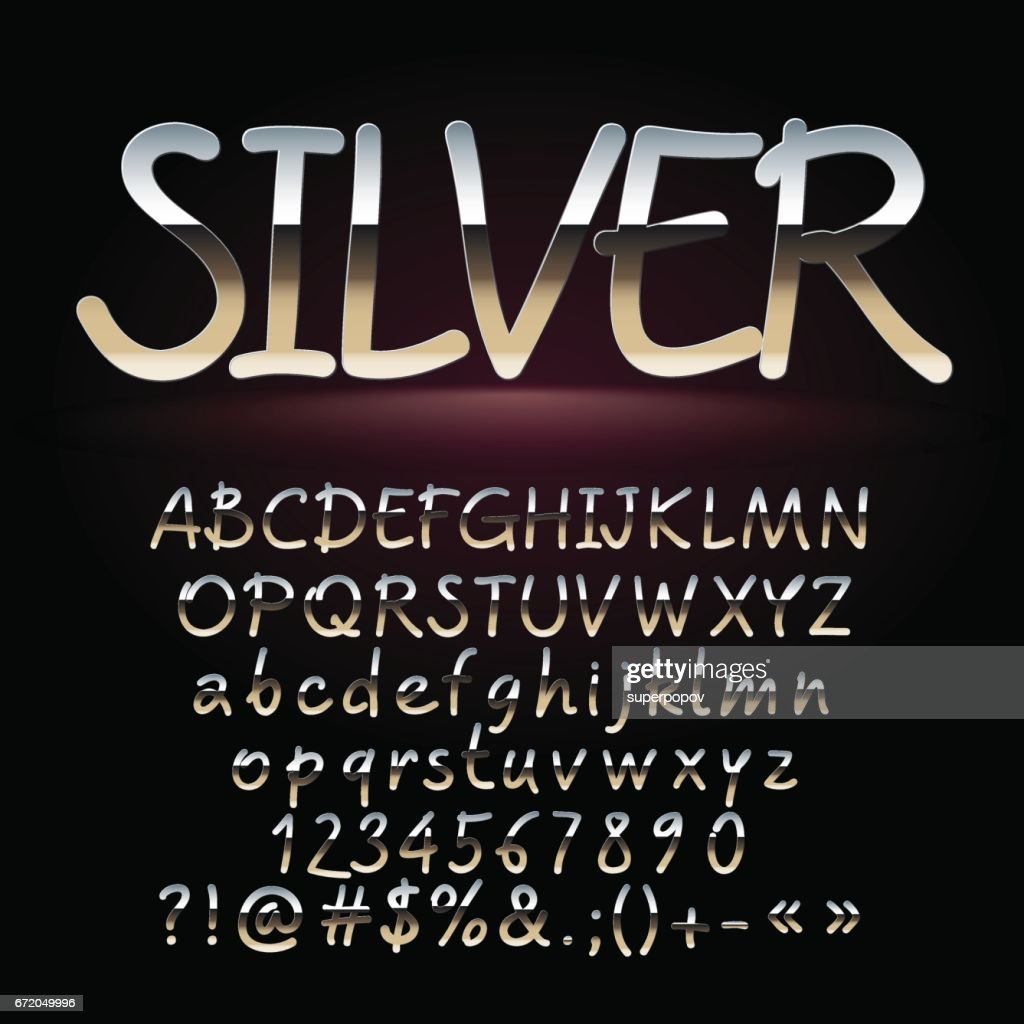 Vector Set Of Artistic Silver Letters Numbers And Symbols Vector Art