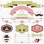 Vector set of artistic wedding design elements