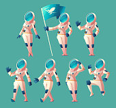 Vector set of astronaut girls in different poses