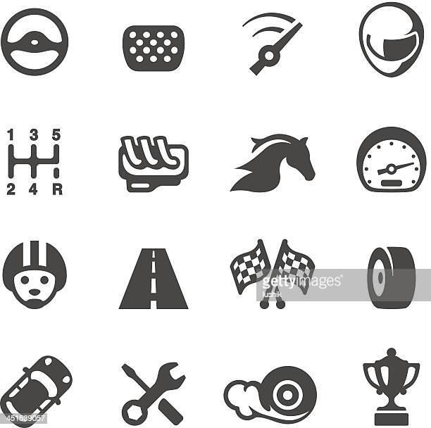 vector set of auto racing icons - rally car racing stock illustrations, clip art, cartoons, & icons