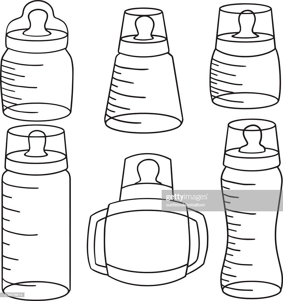 vector set of baby bottle : Vector Art