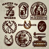 vector set of badges, design elements, templat for logo design on the theme of blacksmithing