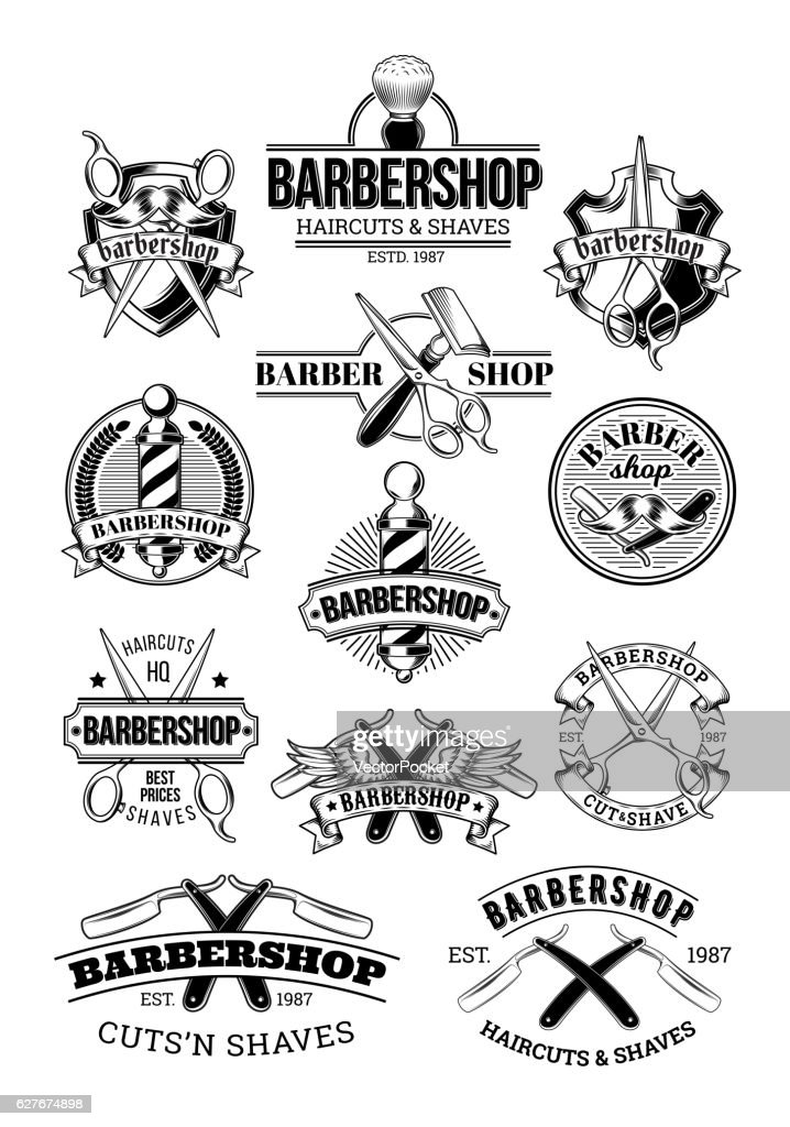 Vector set of barbershop logos, signage
