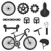 Vector set of bicycle parts isolated icons. Black and white bicycle symbols and design elements