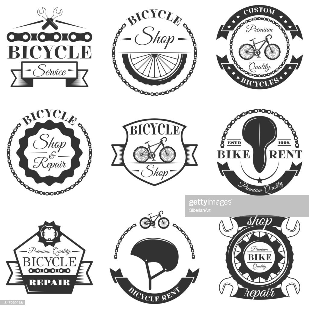 Vector set of bicycle repair shop labels and design elements in vintage black and white style. Bike