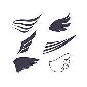 Vector Set of Bird Wings Silhouettes