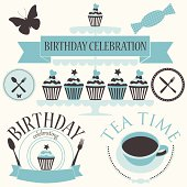 Vector set of birthday icons in blue colors.