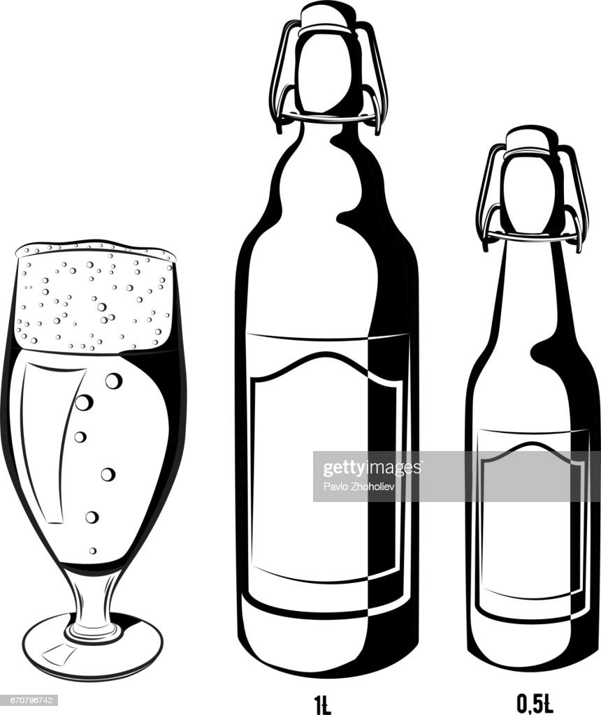 Vector set of black and white beer bottles half-liter and liter with blank label, where you can write a text and a glass filled with beer