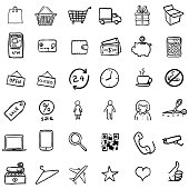Vector Set Of Black Doodle Shopping Icons