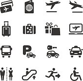Vector set of black of airport and travel icons