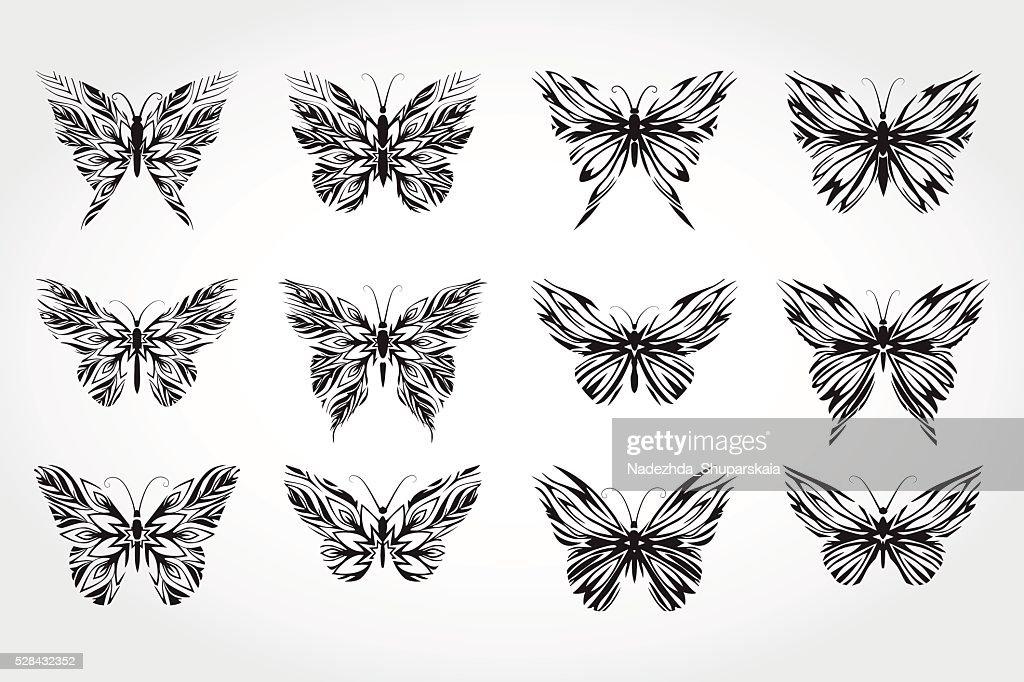 Vector set of black silhouettes butterflies.