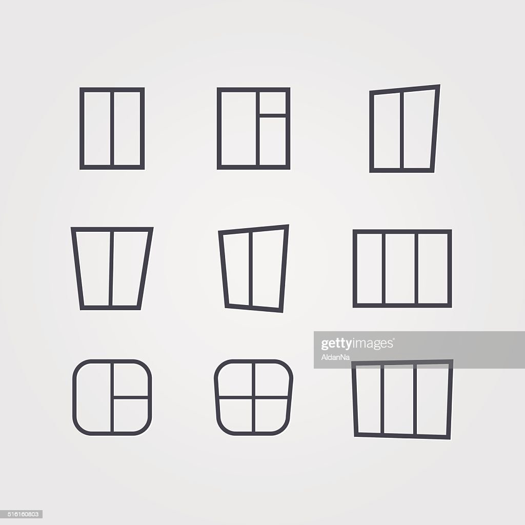 Vector set of black silhouettes windows