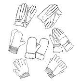Vector Set of Black Sketch Gloves and Mittens