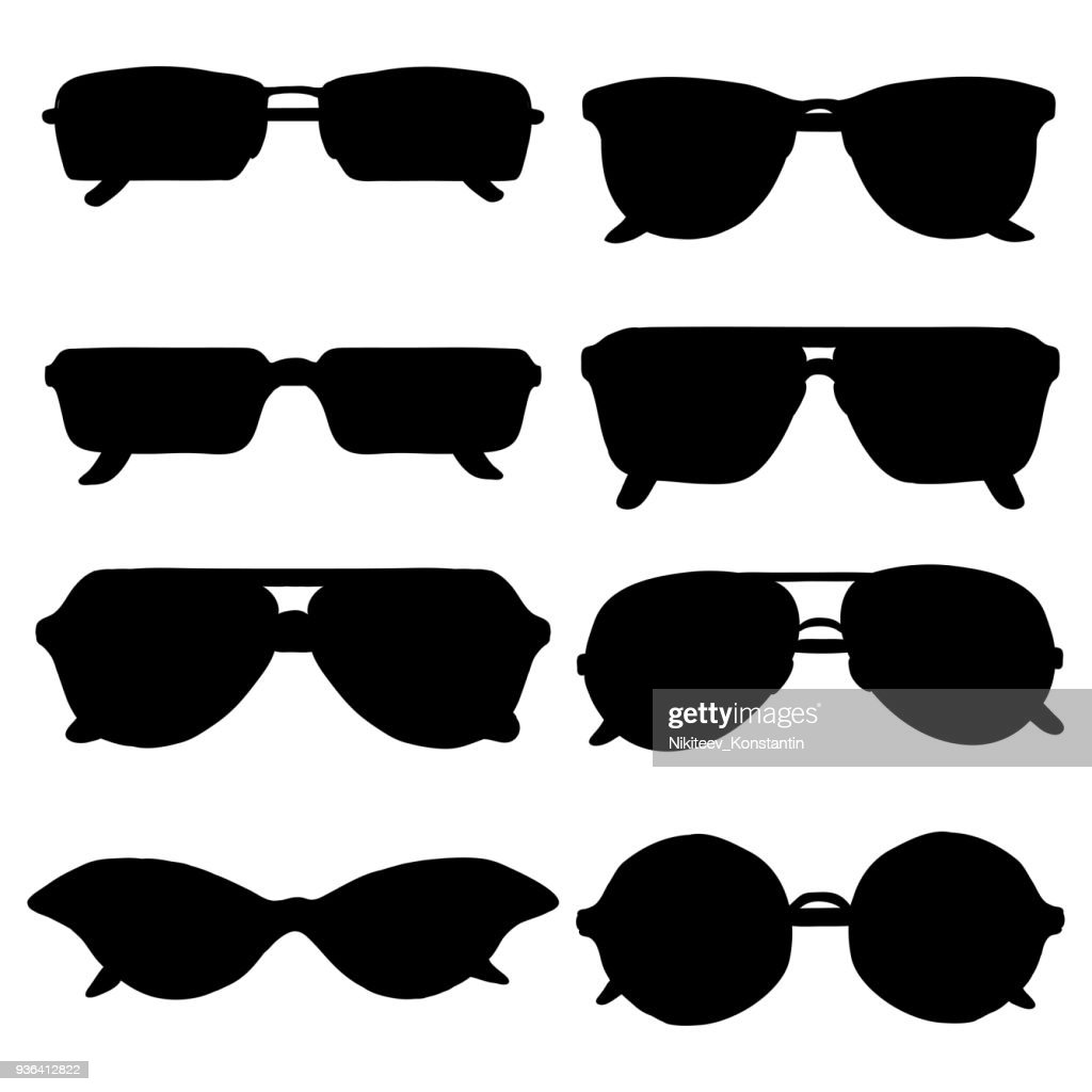 Vector Set of Black Sunglasses Silhouettes