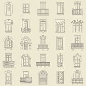Vector set of black  thin line icons of vintage decorative doors, windows, balconies on white background.