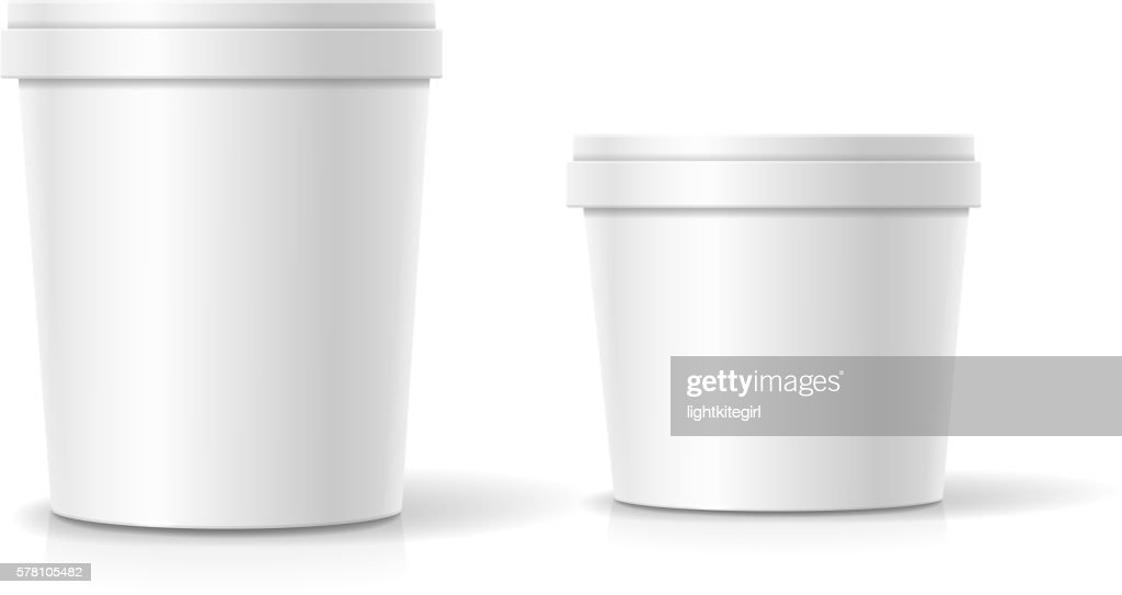 Vector set of blank plastic bucket container packaging isolated