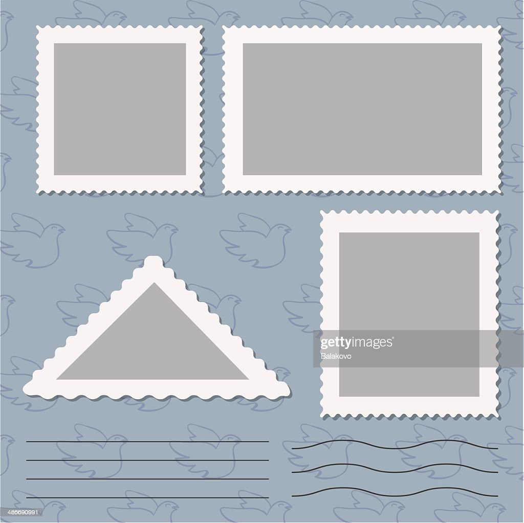 Vector set of blank postage stamps isolated on grey