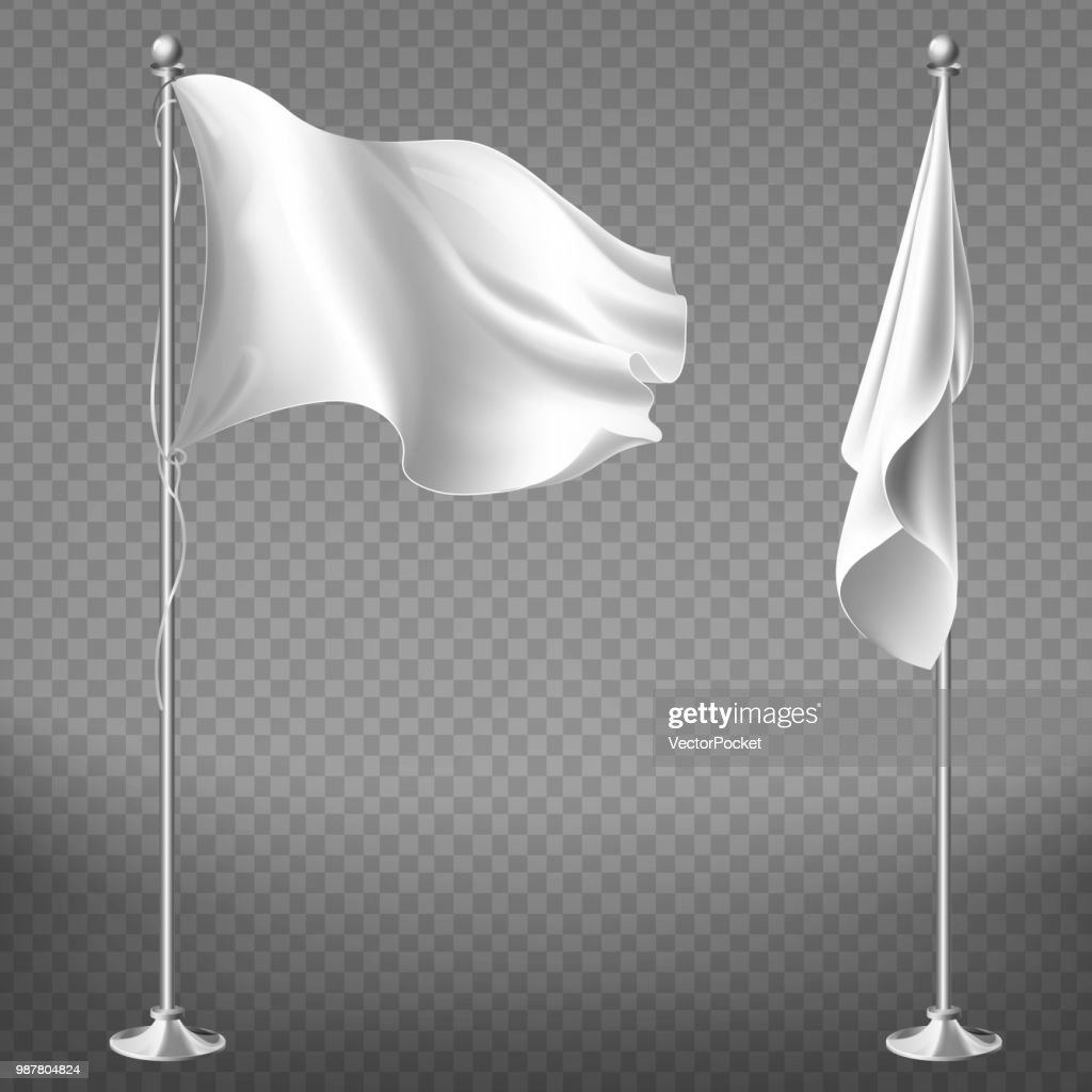 Vector set of blank white flags on steel poles