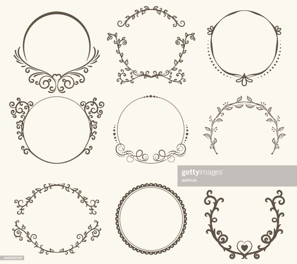 Vector set of border circle frame - vintage style