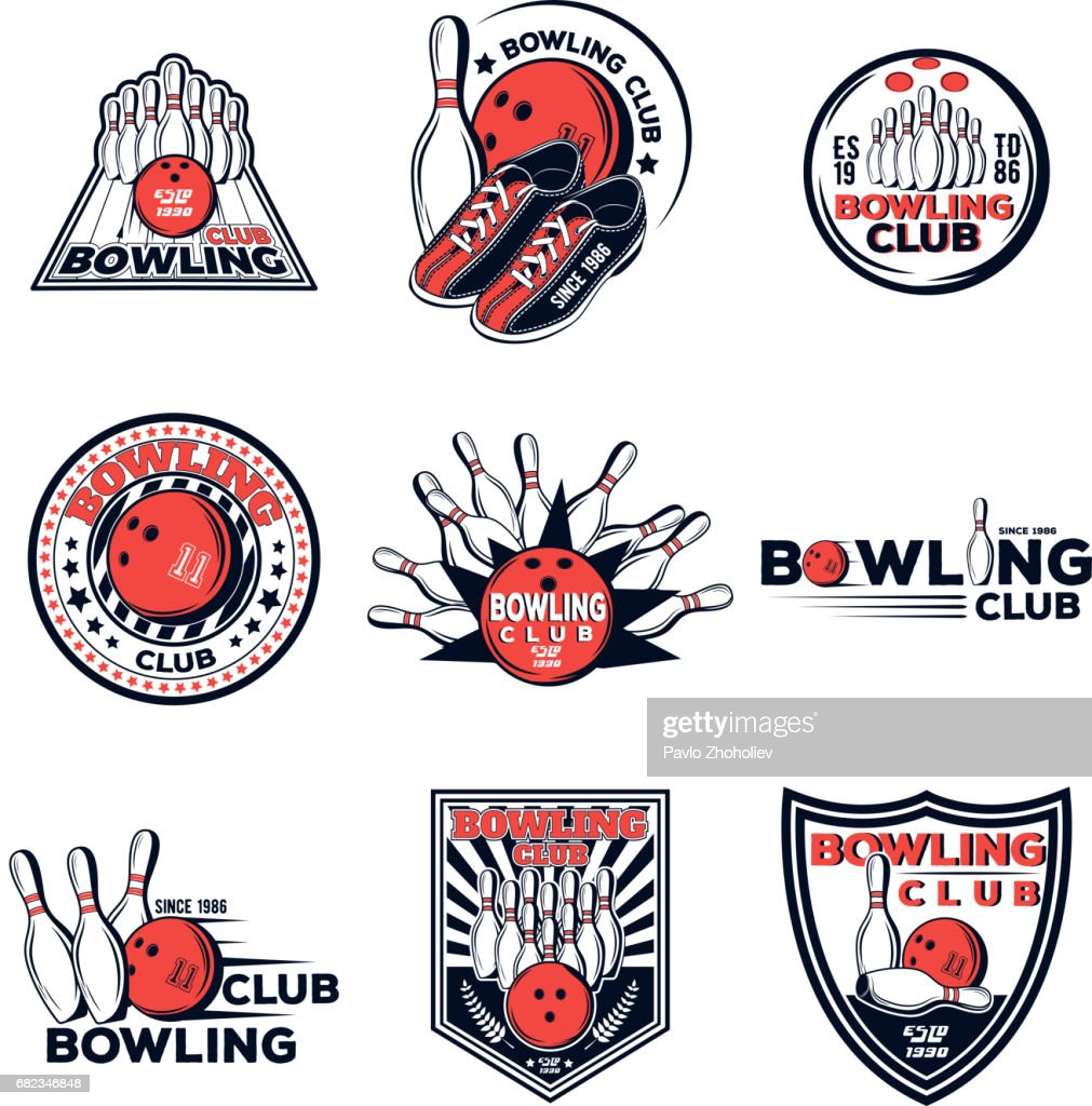 Vector set of bowling club icons for your design, print and web on a white background