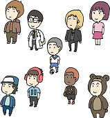 vector set of boy and girl