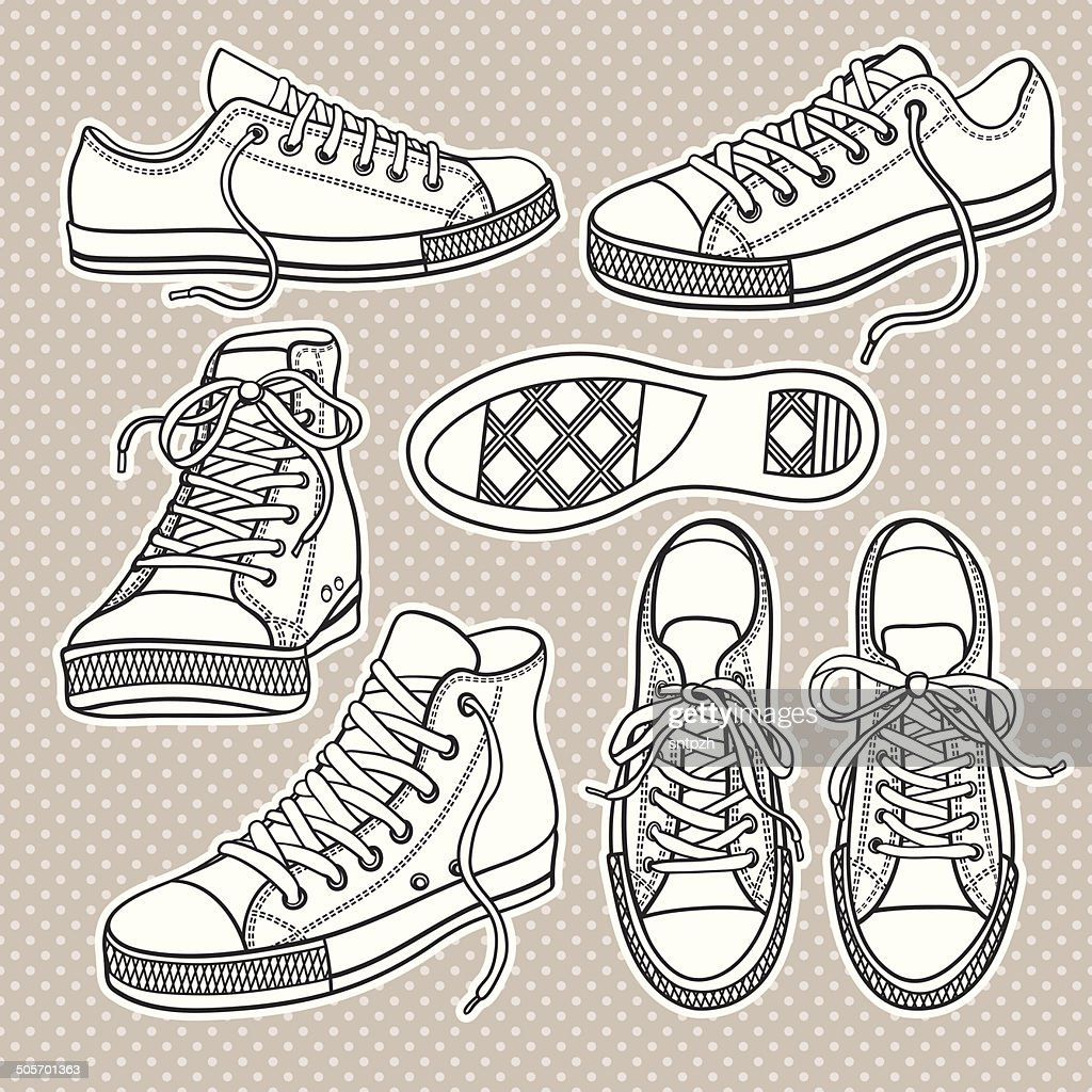 set with sneakers isolated