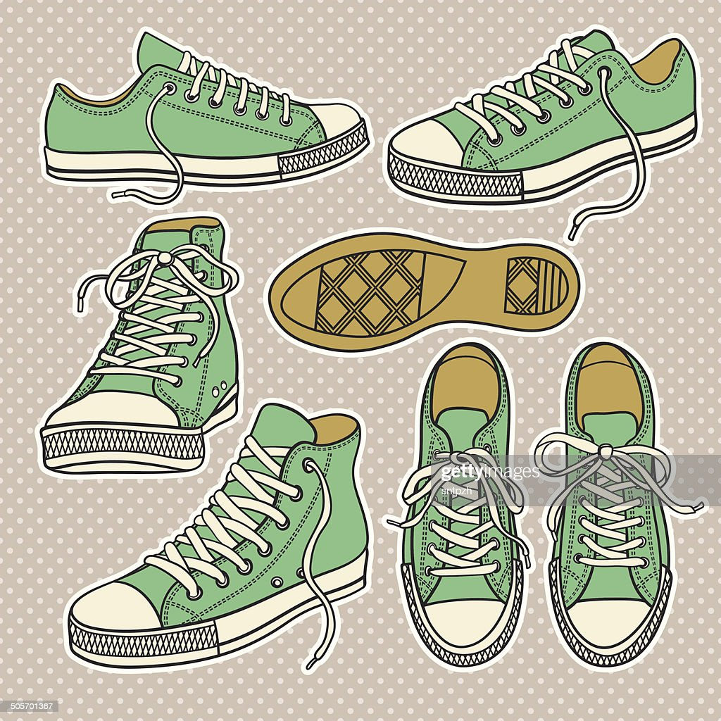 set with isolated sneakers