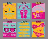 Vector set of bright summer cards. Beautiful summers posters with