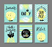 Vector set of bright summer cards with fruits, palm leaves and hand written text.
