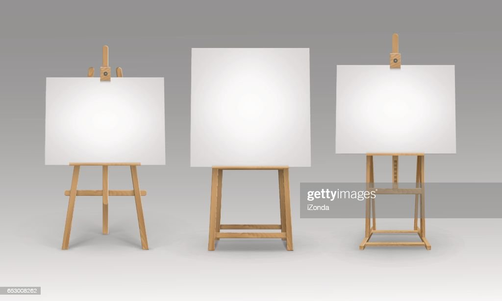 Vector Set of Brown Sienna Wooden Easels with Blank Canvases Isolated