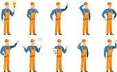 Vector set of builder characters