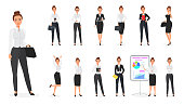 Vector Set of business woman character. Office female.