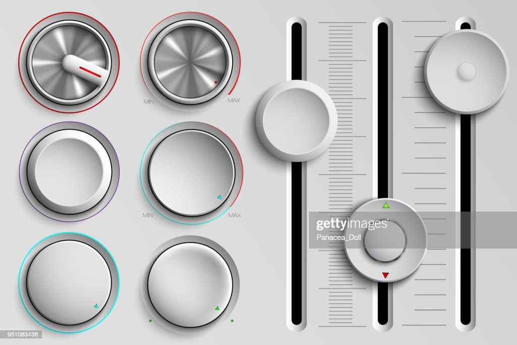 vector set of buttons and faders, volume control
