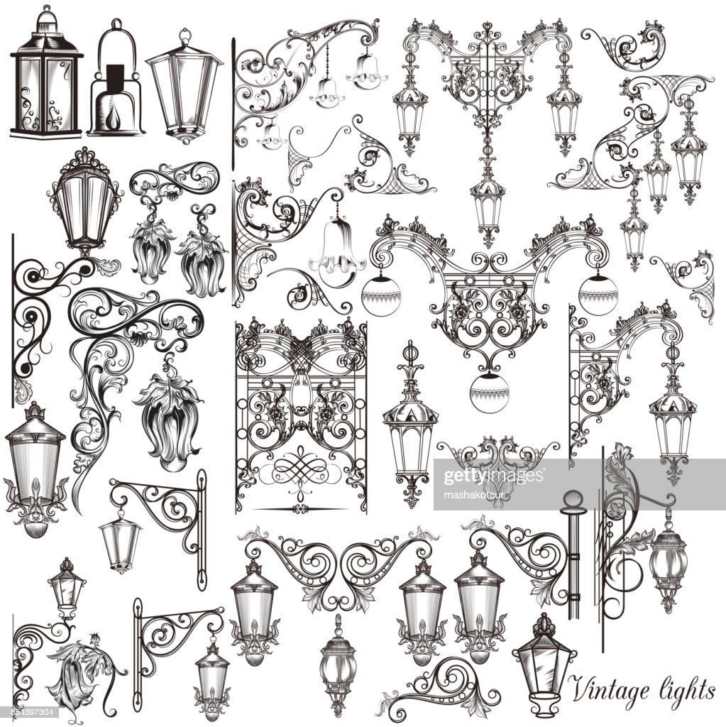 Vector set of calligraphic decorative elements and street lights for design