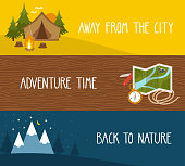Vector set of camping banners with landscapes, tourist equipment. Bright travel backgrounds.