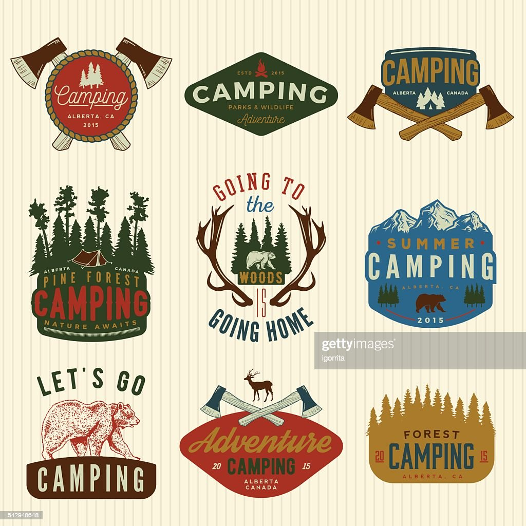 vector set of camping vintage logos, emblems, silhouettes and de