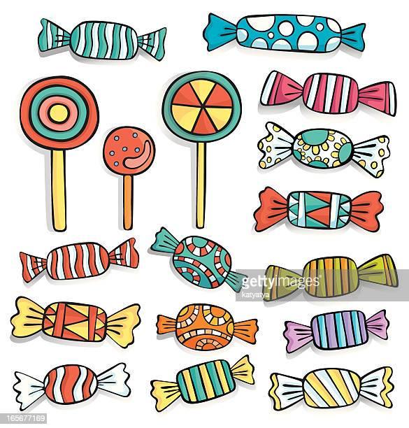 Vector set of candies and lollipops