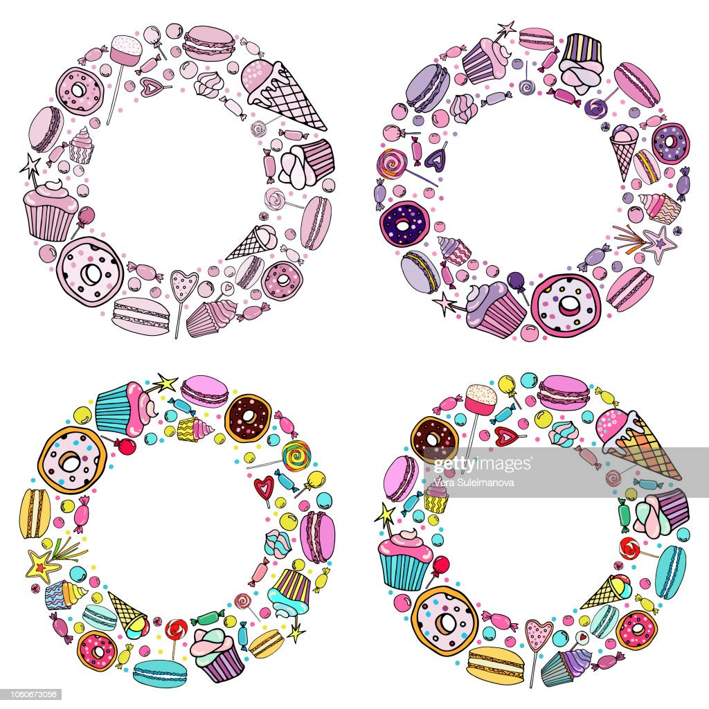 vector set of  candy, ice cream, candy, donuts, cupcake, macaroons and other sweets in a circle, which can be used in postcards and flyers or logo