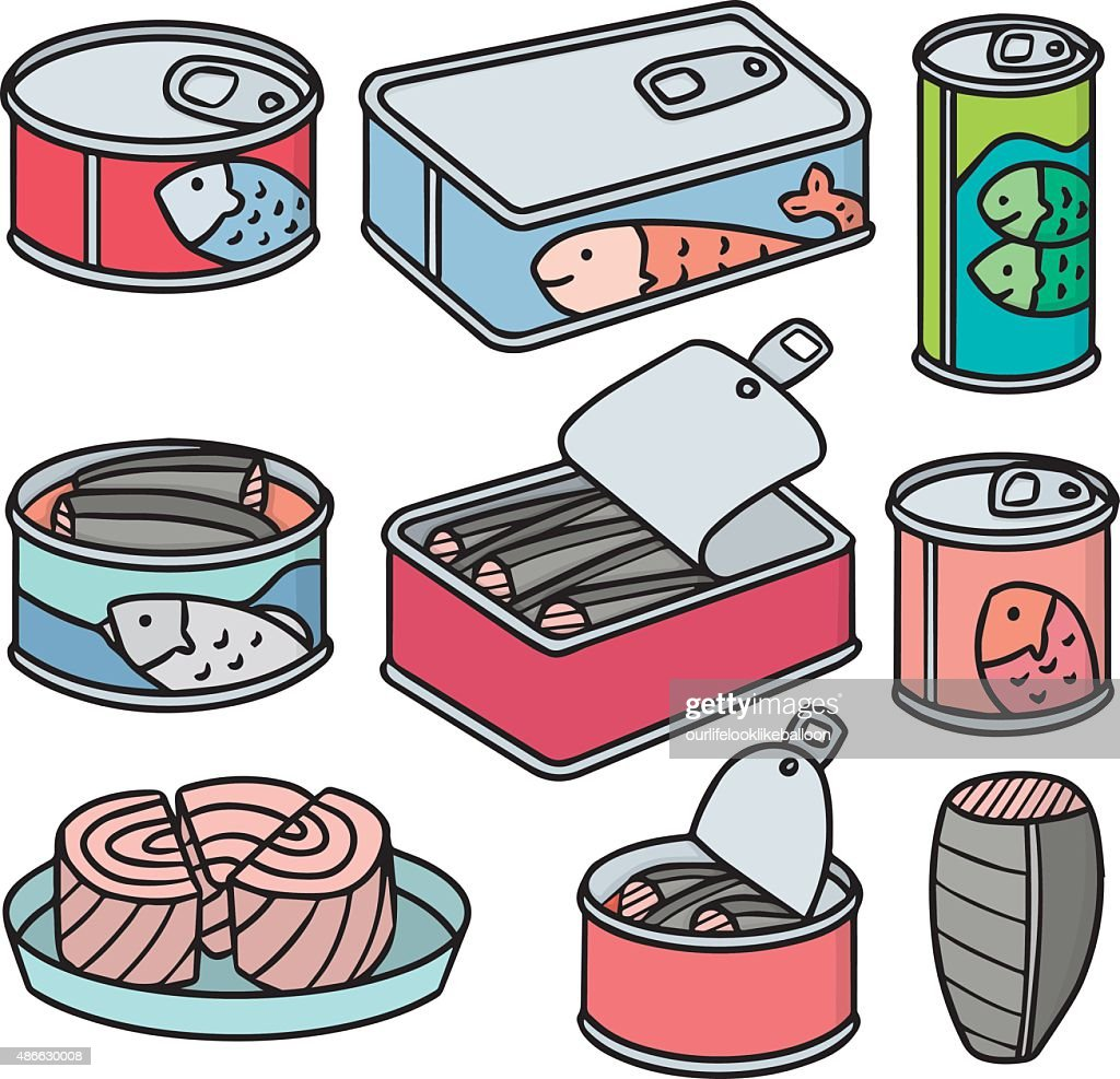 vector set of canned fish