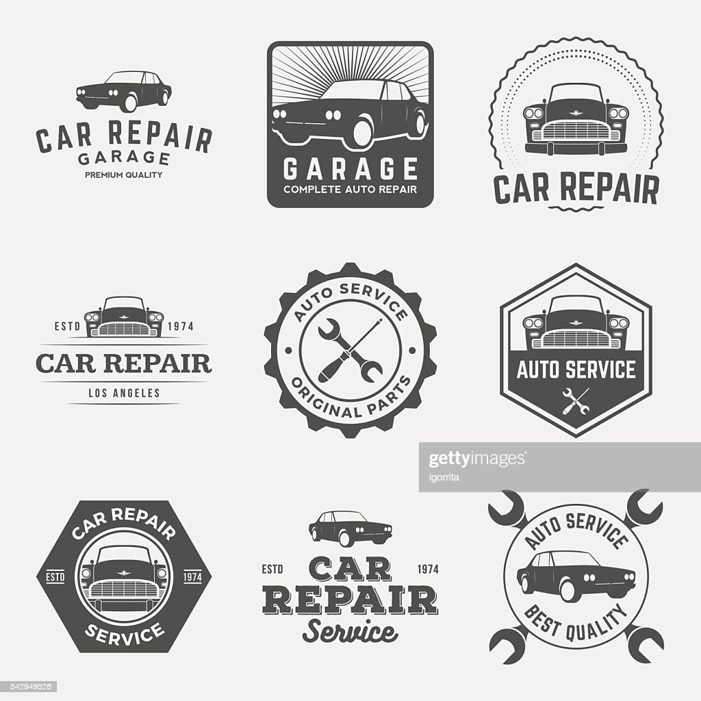 vector set of car repair service labels and design elements