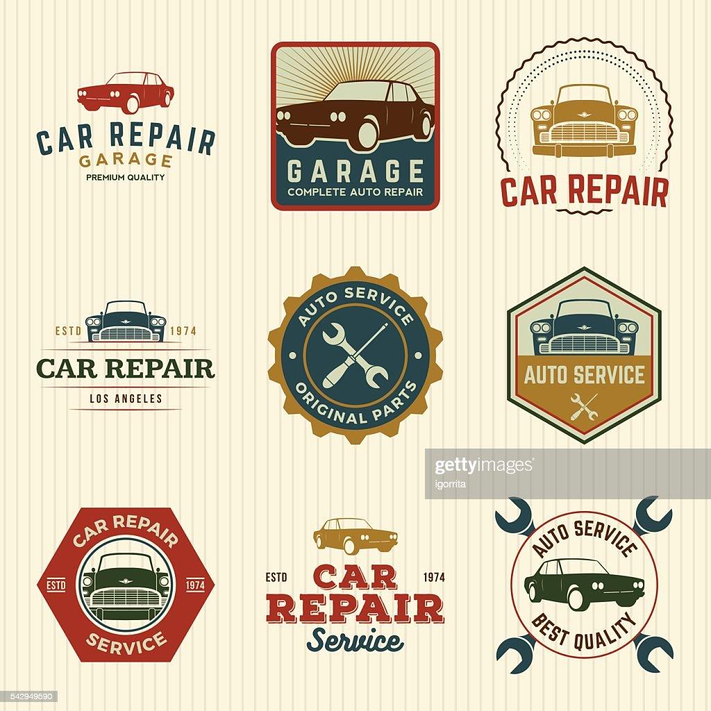 vector set of car repair service labels and design elements
