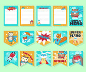 Vector set of cards with cute superhero animals