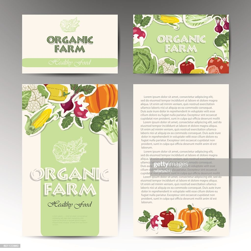 Vector set of cards with fresh, healthy vegetables