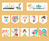 Vector set of cards with medieval knight, princess, dragon and quotes