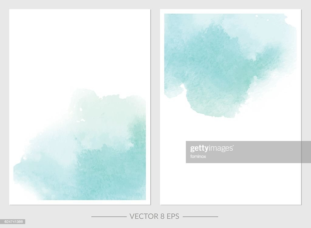 Vector. Set of cards with watercolor blots.