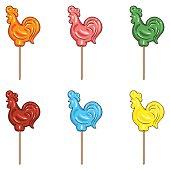 Vector Set of Cartoon Color Candy Cocks.
