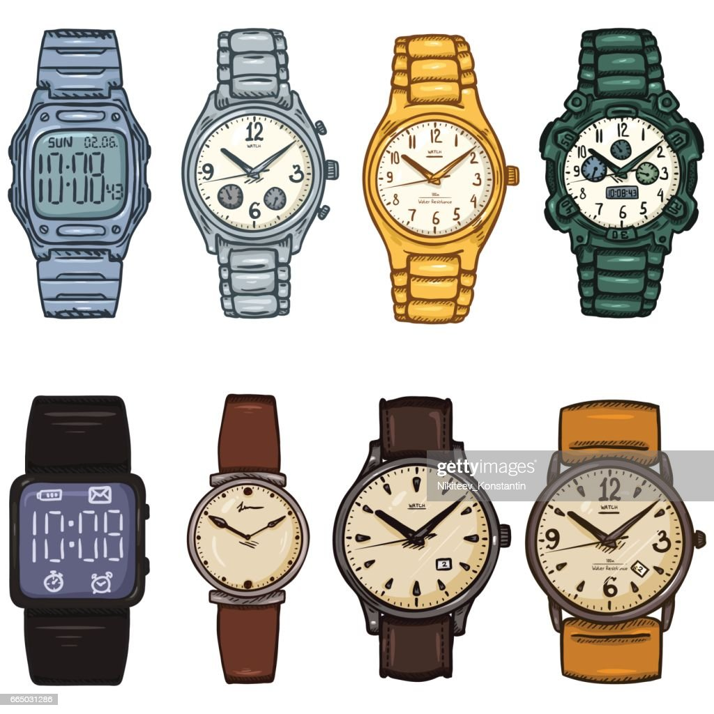 Vector Set of Cartoon Color Wrist Watches