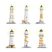 Vector set of cartoon flat isolated lighthouses