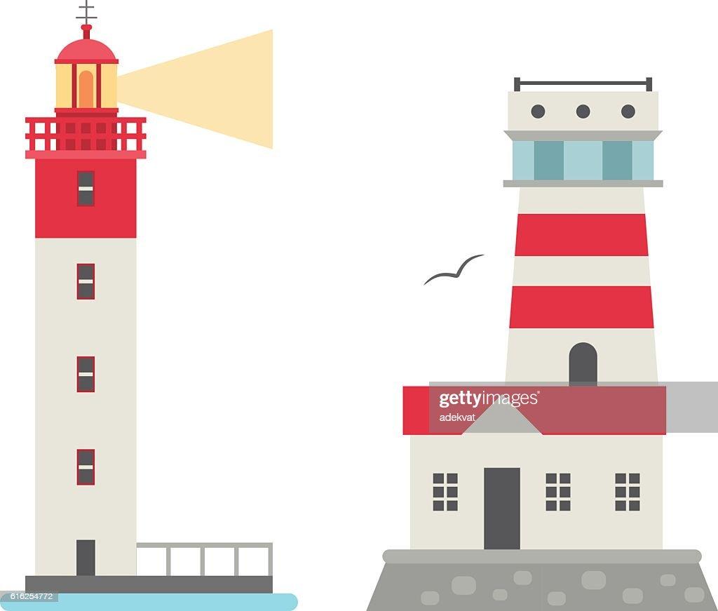 Vector set of cartoon flat lighthouses. : Vector Art